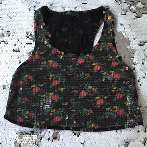 Sequin Flower Crop Top